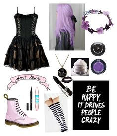 """""""Pastel Goth"""" by crybaby1117 ❤ liked on Polyvore featuring Lancôme, Hard Candy, Americanflat, Dr. Martens, Stila, Maybelline, women's clothing, women's fashion, women and female"""