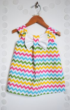 Girls Big Bow Dress, Chevron, Girl Clothing, Toddler, White, Pink, Blue, Yellow, Green, Easter, Spring Special Occasion Outfit Size 1T to 5T. $35.00, via Etsy.