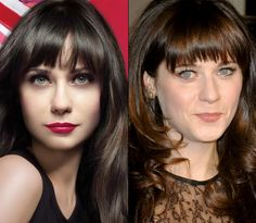 Zooey Deschanel, is that you? The actress and singer, who is also the face of British cosmetics giant Rimmel, looks like a totally different woman in the company's latest ads for Lasting Finish lipstick. Deschanels features seem to have been totally rearranged: The bridge of her nose looked like it was digitally elongated and her mouth is enlarged and totally reshaped. Even the 500 Days of Summer stars trademark baby blues seem to have been muted to a pale gray.