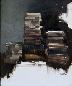 Tres piles de llibres<br>Oleo s. tela<br>73 x 60 cm.