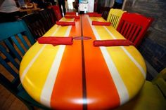 Surfboard table at hgw                                                                                                                                                                                 More