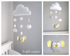 READY ITEM Baby Crib mobile Owl baby mobile door LoveFeltXoXo