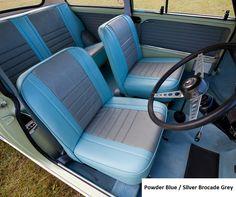 Morris Mini Cooper S Powder Blue / Silver Brocade Grey Back Seat, Rear Seat, Classic Mini, Classic Cars, Mini Cooper Interior, Mini Morris, Monte Carlo Rally, Mini Cooper S, Gray Interior