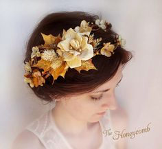 fall wedding headpiece rustic bridal crown autumn by thehoneycomb, $105.00