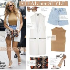 Steal Her Style-Beyonce by kusja on Polyvore featuring мода, Topshop, Gucci, Manolo Blahnik, Oliver Peoples, Beyonce, topshop, Stealherstyle and celebstyle