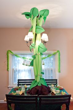 I love the beanstalk made with twisted green pool noodles... clever.