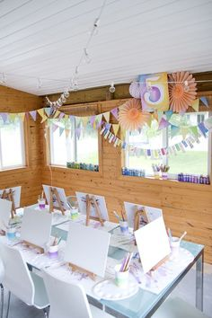 Artist Party Table With Watercolor Decorations