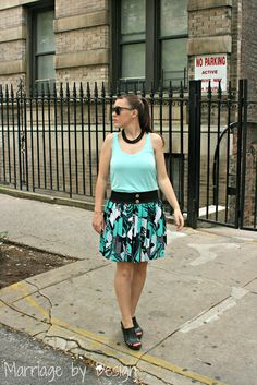 geometric print skirt, mint tank
