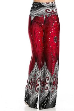Red Border Print Wide Leg High Waist Palazzo Pants $20.00