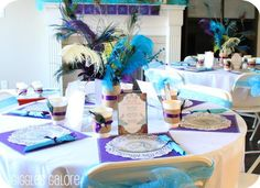 Peacock Table Settings And Centerpieces
