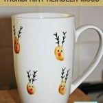 Dishwasher safe Reindeer thumbprint mugs