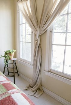 (Source: Old Brand New, via The New Bohemians by Justina Blakenley, via Jared Frank) Window Coverings, Window Treatments, Drapes Curtains, Beachy Curtains, Drapery, Beautiful Curtains, Loft Spaces, Interior Design Living Room, Sweet Home
