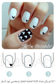 Diy nail idea: B-n-W mickey!