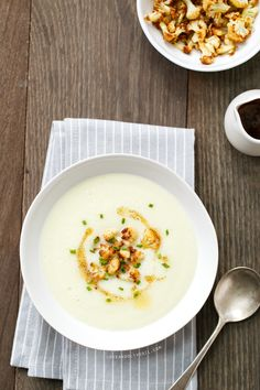 Creamy Cauliflower Soup with Brown Butter.