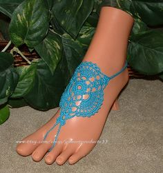 Turquoise Crochet Barefoot Sandals, Bare Foot Jewelry, Anklet, Teal, Aqua, Bridal Accessories, Footless, Barefoot Sandals, Crochet Sandals