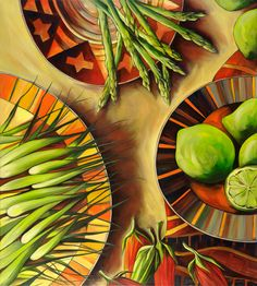"""""""Asparagus in Season"""" - artwork by Australian artist, Dianne Minnaar, now available as fine art reproductions - http://www.artreproductions.com.au/gallery.php?artid=1693"""