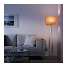 KLABB Floor lamp with LED bulb, light brown, bronze color
