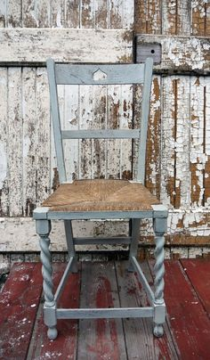 Beautiful Antique vintage carved heart rush seat chair in Miss Mustard Seed Milk Paint Mora