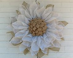 Two-Time Pink Poly Burlap Flower Wreath