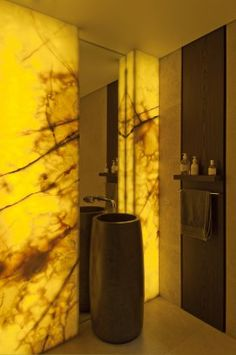 Lighted wall panels ~ Powder Room Bruce Stafford Architects Vaucluse, Australia