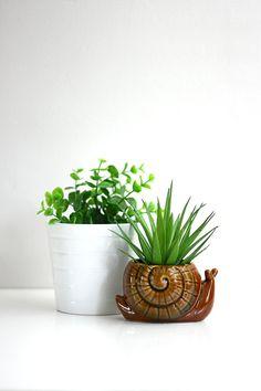 Vintage Ceramic Snail Planter
