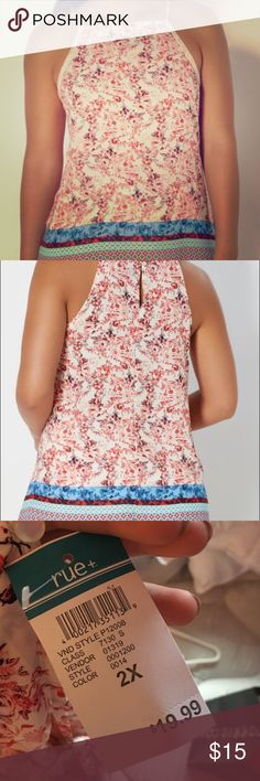 Floral Border High Neck Tank Top Set your boho-loving spirit free in this cute tank top. Crafted with floral border prints on the breezy chiffon, it boasts crochet trim at the arm openings and modern high neckline. Rue 21 Tops Tank Tops