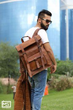 Genuine Leather Backpack For Men Messenger Bag Briefcase for Laptop Best Leather Backpack, Leather School Backpack, Men's Backpack, Leather Satchel, Leather Backpacks, College Bags, School Backpacks, Stylish Men, Briefcase