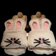 This is crazy!!!!  Bunny Maxi-pad Slippers for a White Elephant gift!!! Great gag gift for Christmas Party Exchange.
