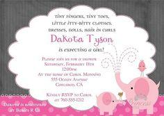 Baby Pink Elephant Baby Shower Invitation