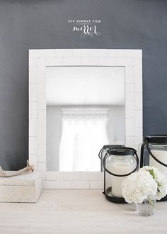 Crisp, clean minimalism in the form of a make-it-yourself mirror frame. #DIY