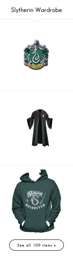 """Slytherin Wardrobe"" by flopy98 ❤ liked on Polyvore featuring harrypotter, slytherin, harry potter, hogwarts, fillers, hp, jackets, robes, tops and hoodies"