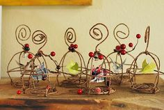 floral wire bird cage ornies-need a whole shelf of them!