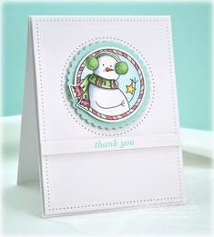Snowman Thank You: PTI PomPom Pals stamp, Copic Markers, and Spellbinders dies. All details are in this post: http://debbiedesigns.typepad.com/muse_and_amuse/2015/01/snowman-thank-you.html