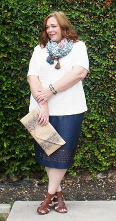 Mynt 1792 Navy Blue Laser Cut Skirt with a Quilted White Top from Old Navy, Leopard Tasseled Scarf from LOFT, Tortoiseshell & Turquoise Bracelet from Charming Charlie, Snake Print Clutch from JCPenney, and Brown Pierced Leather Wedges from Franco Sarto | Designing From My Closet | Plus Size & Inbetweenie Fashion Blog