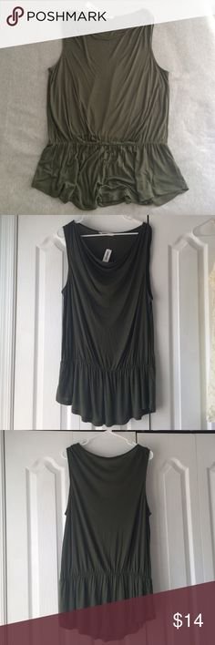 NWT Green sleeveless top Brand new with tags! Sleeveless, olive green top with a bit of movement to it. Size large Old Navy Tops Blouses