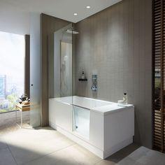 DURAVIT Shower & Bath - Bathtub with shower zone 1700 x white / clear Bathtub Shower, Bathroom With Shower And Bath, Modern Tub, Modern Shower, Bathroom Design Luxury, Bathtub, Small Shower Baths, Walk In Shower Bath