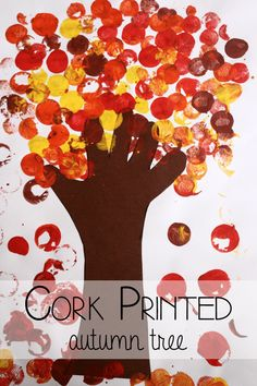 Simple Autumn Tree Art for Preschoolers is part of Cork crafts Preschool - Use simple art techniques to create a beautifully printed autumn tree A great art activity for fall for preschoolers or toddlers Autumn Eyfs Activities, Nursery Activities, Art Activities, Fall Preschool, Preschool Crafts, Autumn Art, Autumn Theme, Fall Crafts For Kids, Art For Kids