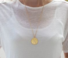 Check out this item in my Etsy shop https://www.etsy.com/il-en/listing/252111982/gold-long-necklace-gold-coin-necklace