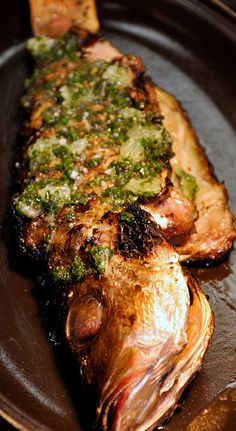 Wood Grilled Whole Snapper - Chilies, Herbs & Lime Grilled Seafood, Fish And Seafood, Whole Fish Recipes, Snapper Recipes, Seafood Recipes, Cooking Recipes, Genevieve Gorder, Jean Georges, Asian Recipes