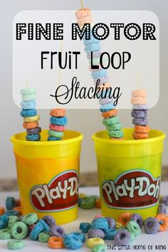 Fine Motor Activity: Stacking Fruit Loops - This Little Home of Mine