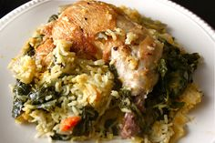 One-Pot Chicken and Rice : Pile the rice and vegetable mixture onto a plate, and top it with a piece of chicken. Squeeze a wedge of lemon or lime over everything. Enjoy your warm, delicious, and nutritious dinner! You'll also only have 1 pot to clean. Hooray!  This recipe was adapted from Martha Stewart's Everyday Food magazine, Oct. 2011.
