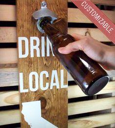 Custom State Wall-Mounted Wood Bottle Opener