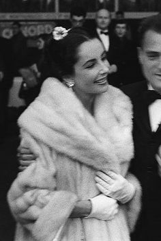 Elizabeth Taylor and Mike Todd at the premiere of Around the World in 80 Days in France, 1957