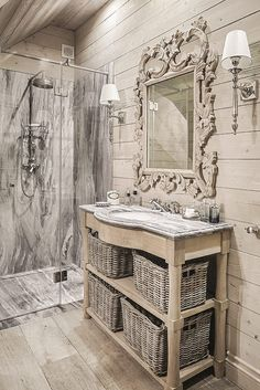 Drewno i marmur, piękna kombinacja. Wood and marble, beautiful combination. French Country Cottage, Country Chic, Cottage Style, Interior Design Tips, Interior Decorating, Decorating Ideas, Romantic Bathrooms, Luxurious Bedrooms, Bathroom Inspiration