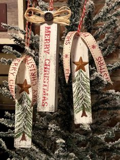 Set of 3 Handmade Rustic Farmhouse inspired ornaments image 6 Rustic Christmas Ornaments, Wooden Christmas Decorations, 3d Christmas, Christmas Ornament Crafts, Handmade Ornaments, Holiday Crafts, Christmas Ideas, Christmas Bazaar Ideas, Primitive Christmas Ornaments