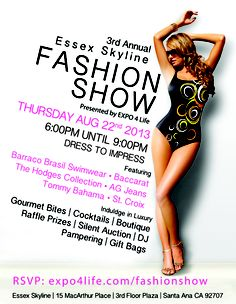 RunwayJunkie.com co-hosts 3rd Annual Fashion Show at Essex Skyline. August 22, 2013 at 6pm http://expo4life.com/fashionshow