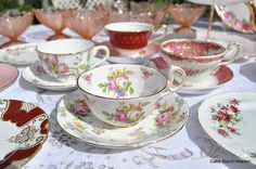 Pink Red & Gold Vintage Mixed China Tea & Dessert Set