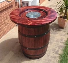 how to make a wine barrel table with built in wine bucket, how to, repurposing…