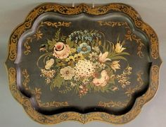 Large Tole decorated tray with hand painted flowers