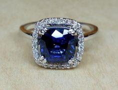 Vintage Antique 2.80ct Blue Sapphire Diamond Unique Engagement Ring 14k White Gold Diamond Halo by DiamondAddiction on Etsy
